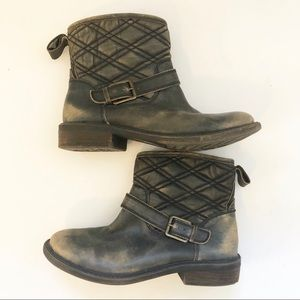 Lucky brand distressed buckled slip on booties 7M